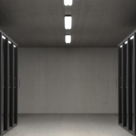 Rows of racks holding servers in a datacenter.