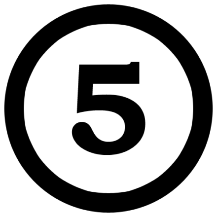A black number 5 inside a white circle that has been outlined by a black line.
