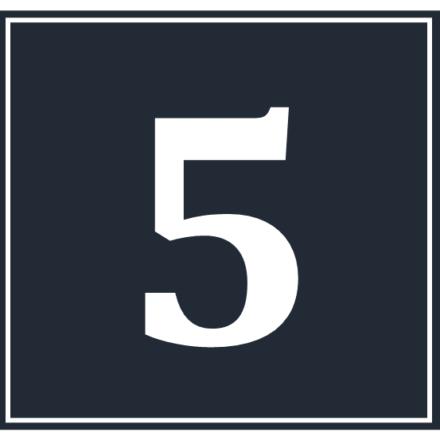 A white numeral 5 in a dark blue square