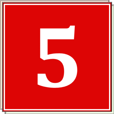 A white numeral 5 in a red square