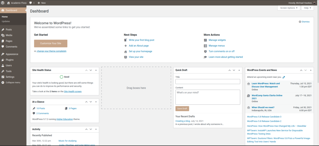 The WordPress Dashboard has a navigation menu on the left, some generic information about this particular website, and information about upcoming WordPress events and news.