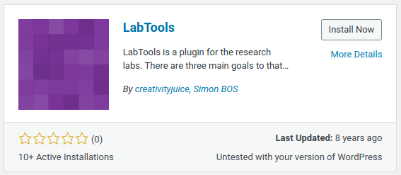 An infobox in WordPress showing information for a very old plugin named LabTools