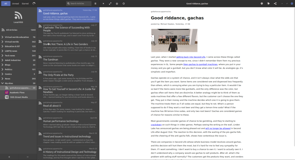 A screenshot of the feed reader named FeedReader. It is displaying snippets of blog posts in a column, while a single post is opened the read.