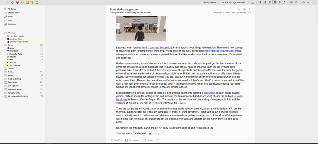 A screenshot of Feedbro showing an article from an RSS feed. It shows the article headline at the top of the page, an image beneath that, and several paragraphs of text below the image.